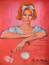 PUBLICITÉ 1964 ELISABETH ARDEN WILD PINK NOUVELLE TEINTE DE ROUGE À LÈVRES