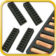 4 Rolled Coin Storage Organizer Quarters Home Office Black 2 Quarter Holder