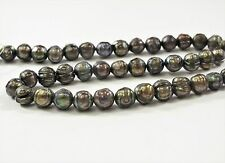 7-8mm Faceted Potato Freshwater Pearl Beads Dark Peacock/Medium Champagne (#356)