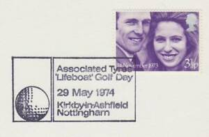 GB Stamps Souvenir Postmark Associated Tyres Lifeboat golf Day, RNLI, sport 1974