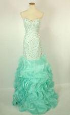 NEW $550 Jovani Wedding Dress Long Gown Mermaid Prom Formal Aqua SIZE 10 Cruise