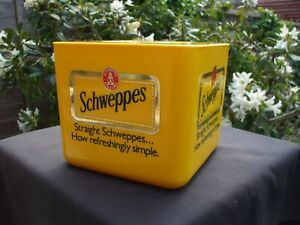 Retro Collectable Schweppes Square Yellow Ice Bucket.Bar Top.Mixers.VGC.