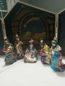 RARE Polonaise Collection 5-Piece Glass Ornament Nativity Handcrafted by Komozja