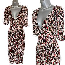 Monsoon Black Cream Red Green Print Wrap Style Short Sleeve Jersey Dress UK14