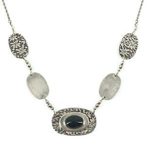 Jane Edsall Artisan Handmade Sterling Silver 925 Onyx Necklace Signed J. Edsall