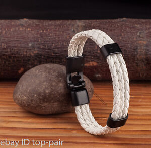Trendy Mens White Rope Braided Synthetic Leather Bracelet Wristband Black Clasp