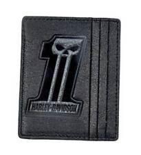 Harley-Davidson Men's Black Label #1 Skull Front Pocket Wallet BLK UN7539L-Black