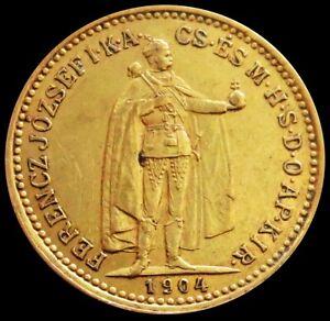 1904 KB GOLD HUNGARY 10 KORONA 3.387 GRAMS EMPEROR FRANZ JOSEPH COIN