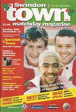 Football Programme - Swindon Town v Ipswich Town - Div 1 - 1997