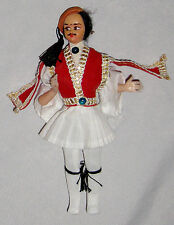 """Red White 6 1/2"""" Cloth Greek Soldiere Man Doll"""