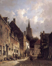 "Beautiful Oil painting landscape A Dutch Street Scene with church canvas 24""x36"""