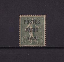 timbre France préoblitéré  Semeuse  POSTES PARIS 1920 15c vert  n° 25  oblitéré
