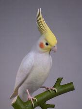 """12-3/4"""" Lutino Cockatiel Original Bird Carvings/Birdhug"""