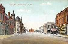 Devils Lake North Dakota Kelly Ave Street Scene Antique Postcard K35585