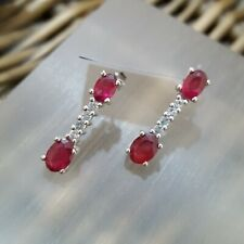 GEMPORIA 925 STERLING SILVER STUD EARRINGS, RUBY AND TOPAZ, LONG STUD, BNWT