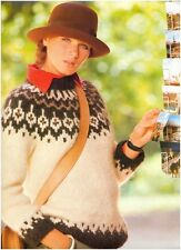 Ladies' Chunky Icelandic Fair Isle Yoke Sweater Vintage Knitting Pattern 10047