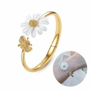 Fashion Glaze Asymmetric Daisy Flower Bee Gold Bracelet Cuff Bangle Women Gift