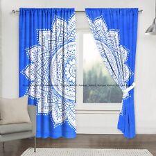 New Blue Ombre Mandala Indian Cotton Window Drapes Hanging Curtain Door Valances