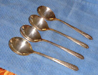 "Set of 4 Vintage Oneida "" Royal Rose "" Round Cream Soup Gumbo Spoons"