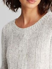 NWT Eileen Fisher Moon Bateau Neck Cable Knit Box-Top Sweater Size XL MSRP $238