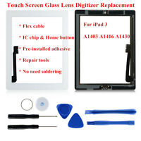Front Panel Lens For iPad 3 Touch Screen Glass Replacement Digitizer Home Button