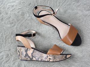 CLARKS Size UK 5 D  Platform Wedge Heel Sandals Tan Leather Snake Print  Black