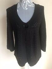 George Womens Cardigan Size 16 Black Crochet 3/4 Bell Sleeves Acrylic