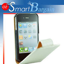 Carbon Fibre WHITE Flip Leather Case Cover For iPhone 4G 4GS + Screen Protector