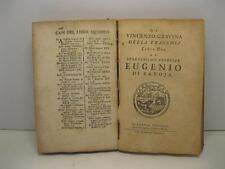 GRAVINA Vincenzo, Di Vincenzo Gravina Giuerconsulto Della Ragion Poetica