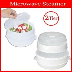 Microwave Steamer 2 TIER Double layer Cooking Meals Vegetables Kitchen Appliance