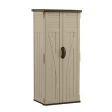 Suncast Resin Vertical Storage Shed Outdoor Garden Tool Locker 4 Shelves Cabinet