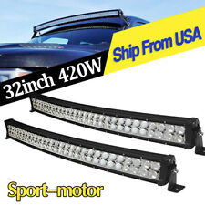 2PCS LED Light Bars Curved 32inch Combo Reverse Driving Offroad ATV Truck 840W