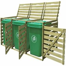 Wooden Triple Wheelie Bin Shed Household Council Outdoor Waste Storage Shed 240L