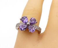 925 Sterling Silver - Vintage Amethyst & Topaz Floral Band Ring Sz 8 - R15919