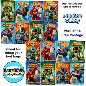 JUSTICE LEAGUE SUPERHEROES POPPING CANDY - PARTY LOOT BAG FILLER - PACK OF 16