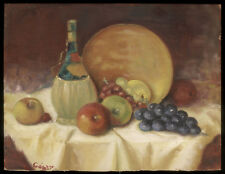 1960s Still Life Oil on Board Wine Bottle, Apples, Grapes, On Table signed César
