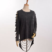 Vintage Gothic Punk Distressed Long Sleeve Hollow Out T shirt With Tassels Black