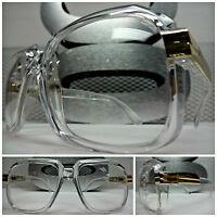 Men or Women OVERSIZE VINTAGE NERD Clear Lens EYE GLASSES Transparent Gold Frame