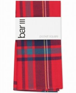 Bar III Men's Pocket Square Red Abby Plaid Print Patterned Accessory $35 #520