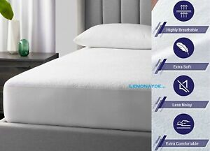 100% Waterproof Terry Towel Mattress Protector Deep Fitted Sheet Cover NO NOISE