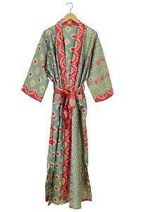 Vintage Silk Sari Kimono Green Patola Silk Robe Nightwear Dress , Dressing gown