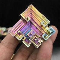 Natural Beautiful Rainbow Bismuth Metal Ingot Crystal Geode Mineral Specimen