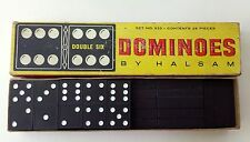 Vintage DOUBLE SIX DOMINOES 28 Pcs #623 By Halsam 60's Game