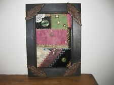 Antique Crazy Quilt Piece In Frame Handmade From Antique Wood~Hand Carved Leaves