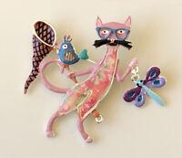 Adorable  Cat dragonfly & bird brooch pin in enamel on metal