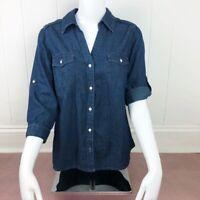 Sonoma Blue Denim Polka Dot Button Down Top Women Size Petite Medium 100% Cotton