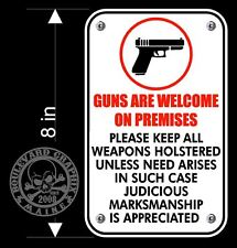 Guns are welcome here decal for business or home door 2nd Amendment sticker sign