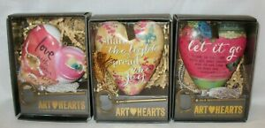 ART HEARTS Studio by DEMDACO Sculpted Hearts KEYS & Inspirational Messages  NEW!