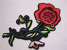 C5443 ** 8 x 13 cm **  APPLIQUE ÉCUSSON PATCH THERMOCOLLANT - FLEUR TIGE ROUGE