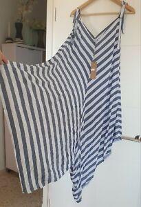 Hosenkleid Jumper Overall Sommerkleid Kleid Italy Gestreift weiss 40 42 44 L XXL
